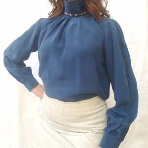 SAKS Fifth Avenue Silk Blue Long Sleeve Blouse